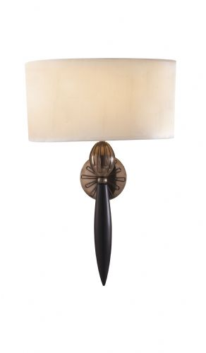 Contour 1-light Black/Bronze Finish Wall Light + White Silk Shade CON0763